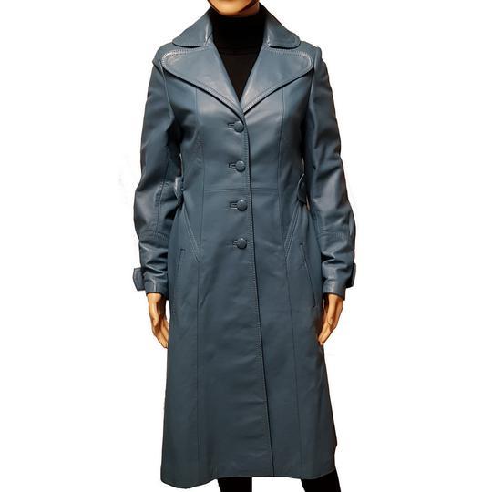 6d43d2fcda03 Manteau veste longue vintage en cuir bleu canard T S sur Label ...