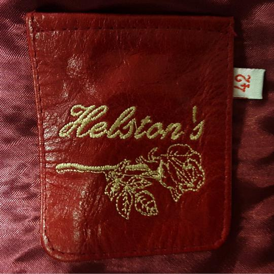 42 T En Sur Rouge Cuir Vintage Pour Helston's Femme Label Veste 6UOxTT
