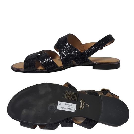 Sandales plates bleues à franges QS7ElAGi